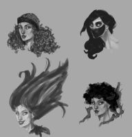 poison ivy concept head sketches by Hillary-CW
