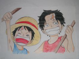 Luffy and Ace by children by ModelingElf