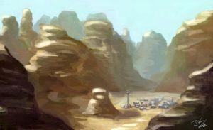 Desert Colony - quick Painting by BadLuckArt