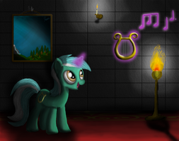 Lyra in the hallway with lyre by tuore