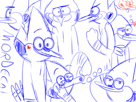 Mordecai sketches by LotusTheKat