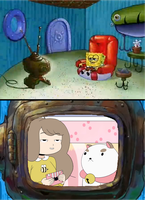 SpongeBob watching Bee and Puppycat by SuperMarcosLucky96