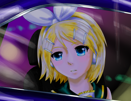 Rin Kagamine Loking Through A Window (image only) by Cutiecat1001