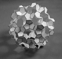 Crinkled Icosidodecahedron 2011 (paper) by albertpcarpenter