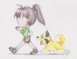 Water Color Pencil Test Daisy and Pitt Chibi by LilliM00