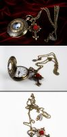 Red Rose Steampunk Watch by Francesca Dani by francescadani