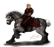 a knight and his steed by noebelle