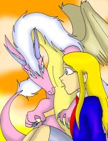 Allen with Clovis pet dragon Pilamina by CathyMouse2010