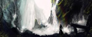 Finrod watches over Beren at the Pass of Sirion by HecticRed