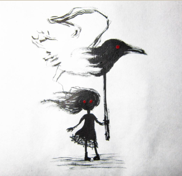 girl with a crow by AsySayYo