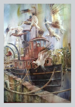 Tugboat  The Essayons  Original Watercolor by richardcgreen