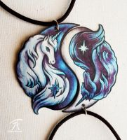Unicorn Yin Yang Pendants by TrollGirl