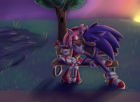 Valentines Day Kiss :sonamy: SPEEDPAINT by Blue-Chica
