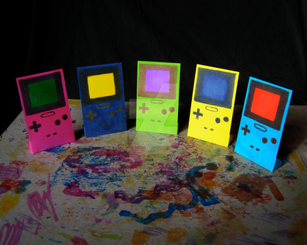 Gameboy Color Vertical Standing Flats by LifeWordingHue
