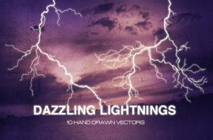 WG Dazzling Lightnings Vectors by wegraphics