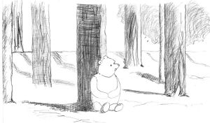 pooh bear in the woods by tobilou