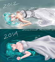Miku - Before and After (2012/2014) by littleWildviolet