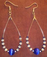 Cobalt Cats Eye Earrings by AdnilemsAdornments