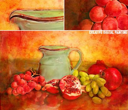 Fruit and Water Still Life. by Cr8ivDigitalPainting