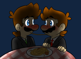 Redrawn Mario: lady and tramp by raygirl12
