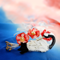Japanese Plum Blossom and Sleeping Crane. Kanzashi by hanatsukuri