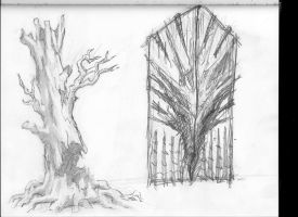 door and dead tree by mikemars