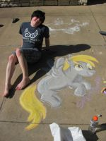 Me and Derpy Hooves Chalk drawing by SpirittigerRei
