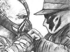 Bane v.s. Rorschach by TheLivingShadow