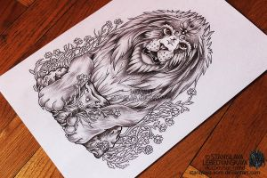 Lion on the stone (commission tattoo's sketch) by Stanislava-Korn
