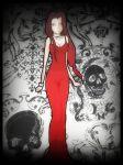 Mary Rose in red gown by gorgonbreath