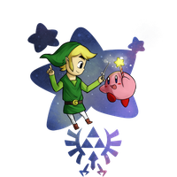 Wind Waker Link and Kirby by Icy-Snowflakes
