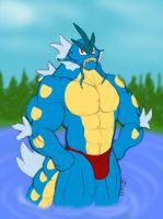Blue Gyarados anthro by CaseyLJones