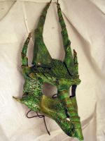 Green Dragon Leather Mask by wyldharrt