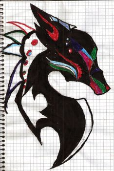 Redesigned(what supposed to be) Tribal Wolf Tatto by DEAD-chan102