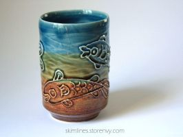 Rainbow fishes tea cup 0721 by skimlines