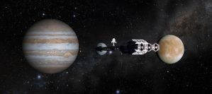Discovery passes Europa by Robby-Robert