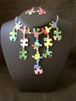 Funky Puzzle Necklace Earrings by eclecticelements