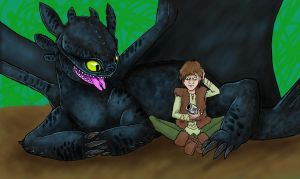 Toothless and Hiccup Sketch by InuRyoko