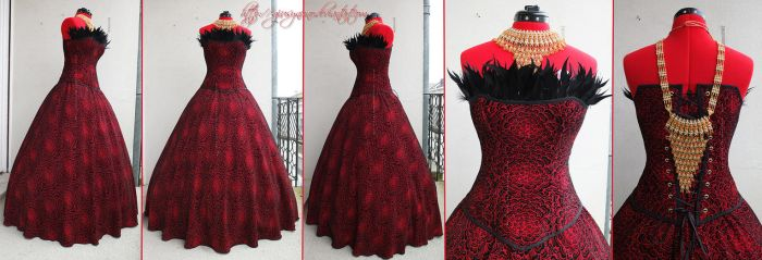 Original Red and Black feathered gothic ballgown by giusynuno