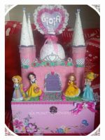 disney castle with 4 princesses on wooden box by glamour-fashionstyle