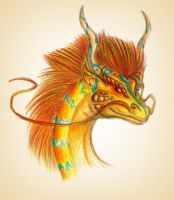 Golden dragon - head by Ruchiel
