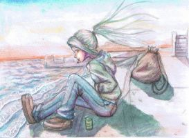 sea side and girl by emanon9988