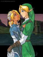 Link + Sheik Waff - colour by foxlee