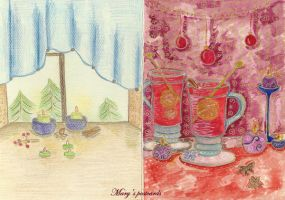 Postcard - both sides ( Holidays are coming) by ma-ry2004