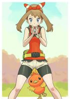 Pokemon trainer May with Torchic. by Gameguran