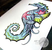 Tattoo sketch. Sea. by AsikaArt