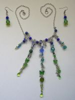 Blue-Green Glass Wire Necklace by johannachambers