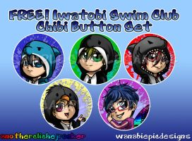 Free! Chibi Button Set by anotherclichejrocker
