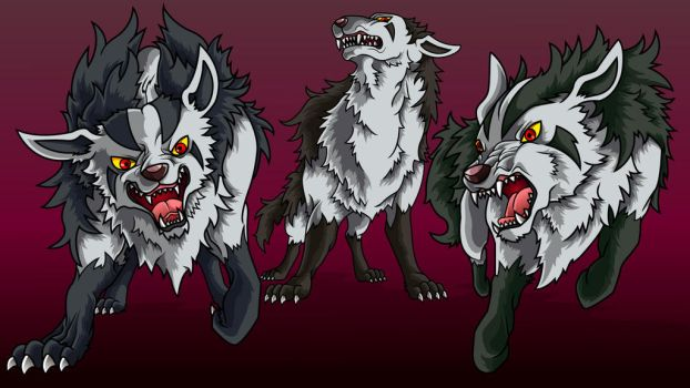 The pack of Mightyena by Belldia