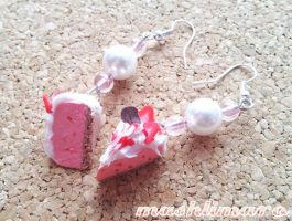 Strawberry-Yogurt Cake with Cream Earring by mashlimaro
